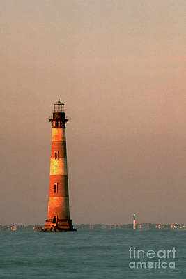 Morris Island  And Sulivan Island Lighthouses  Art Print by John Harmon