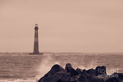 Whimsical Flowers Royalty Free Images - Morris Island Lighthouse in Sepia Royalty-Free Image by Dale Powell
