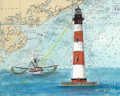 Shrimper Painting - Morris Island Lighthouse Sc Nautical Chart Map Art by Cathy Peek