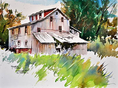 Grist Mill Painting - Morrison Mill Burnt Prairie Illinois by Spencer Meagher