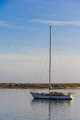 Photograph - Sailboat At Anchor In Morro Bay by Randy Bayne