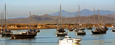 Waterscape Painting - Morro Bay At Dusk by Barbara Snyder
