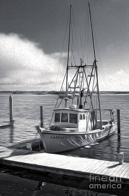 Morro Bay Fishing Boat In Duo-tone Art Print by Gregory Dyer
