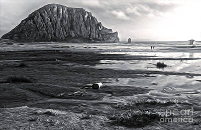 Morro Bay - Morro Rock - Desaturated Print by Gregory Dyer