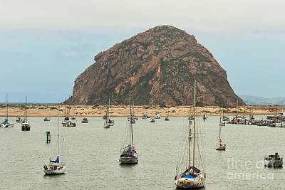 Boats In Morro Bay Photograph - Morro Bay Rock At Dawn by Artist and Photographer Laura Wrede
