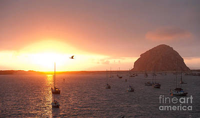 Boats In Morro Bay Photograph - Morro Bay Rock At Sunset by Artist and Photographer Laura Wrede