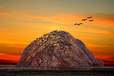 Burnt Digital Art - Morro Rock 3007 by Barbara Snyder