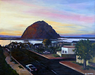 Painting - Morro Rock At Night by Barbara Oertli