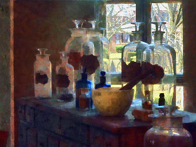 Mortar And Pestle And Bottles By Window Art Print