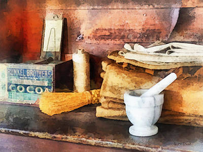 Mortar And Pestle And Box Of Cocoa Art Print