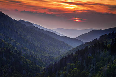 Wood Photograph - Morton Overlook Sunset by Andrew Soundarajan