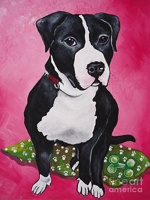 Pittie Painting - Morty by Leslie Manley