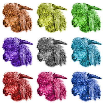 Digital Art - Mosaic Angora Goat - 0073 F - M - Wb by James Ahn