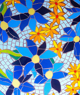 Mixed Media - Mosaic Blue And Yellow Flowers by Felicity Ball