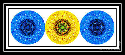 Stained Glass 3 Photograph - Mosaic Blue Circles With Yellow by Barbara Griffin