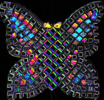 Queen Rights Managed Images - Mosaic Butterfly light 2 dark version Royalty-Free Image by Lisa Brandel