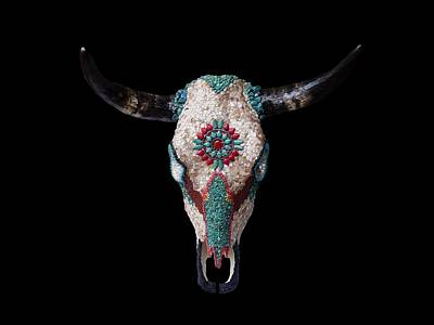 Mosaic Cow Skull Art Print by Katherine Sutcliffe