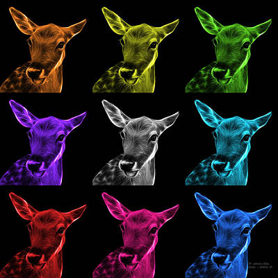 Digital Art - Mosaic Deer Pop Art - 0401 M - Bb by James Ahn