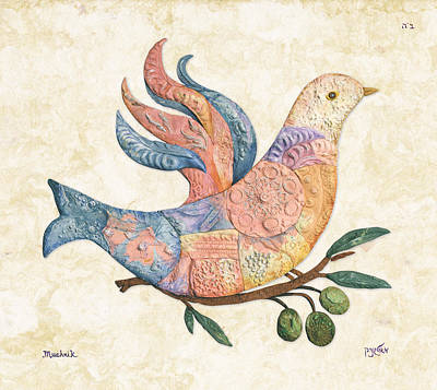 Jerusalem Painting - Mosaic Dove by Michoel Muchnik