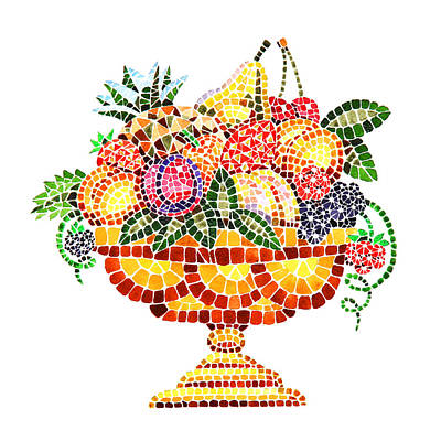 Italian Kitchen Painting - Mosaic Fruit Vase by Irina Sztukowski