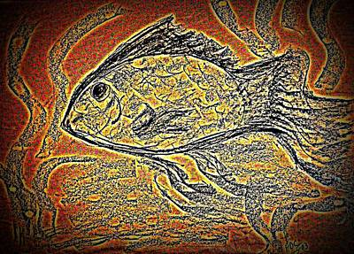 Mosaic Goldfish In Charcoal Art Print by Antonia Citrino