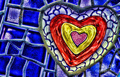 Mixed Media - Mosaic Heart By Diana Sainz by Diana Raquel Sainz