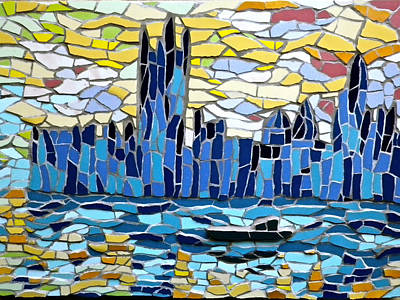 Mixed Media - Mosaic Impression Of The Houses Of Parliament In London by Felicity Ball