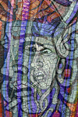 Random Mixed Media - Mosaic Medusa by Tony Rubino