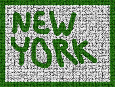 Digital Art - Mosaic New York Green Version by Joseph Baril