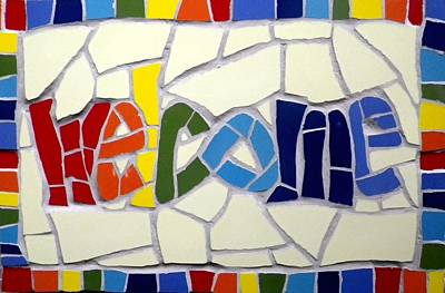 Mosaic Mixed Media - Mosaic Rainbow Welcome Sign by Felicity Ball