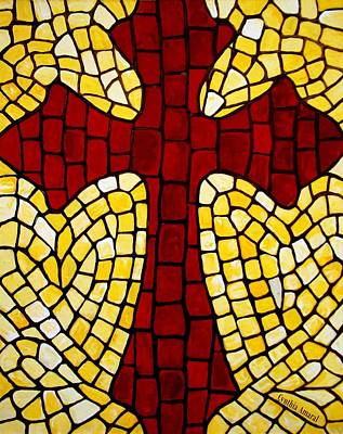Painting - Mosaic Red Cross by Cynthia Amaral