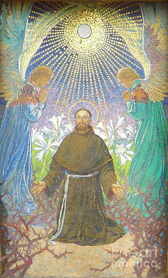Photograph - Mosaic Of St Francis In Krakow Poland By Tadeusz Popiel  by Barry Lamont