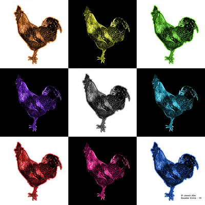 Digital Art - Mosaic Rooster 3186 F - M - V2 by James Ahn