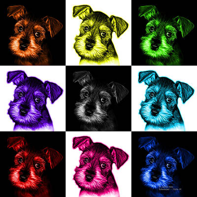 Digital Art - Mosaic Salt And Pepper Schnauzer Puppy 7206 F - V1 by James Ahn