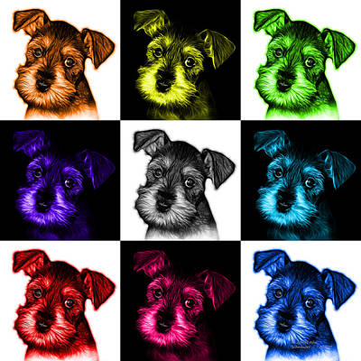 Mosaic Salt And Pepper Schnauzer Puppy 7206 F - V2 Art Print by James Ahn