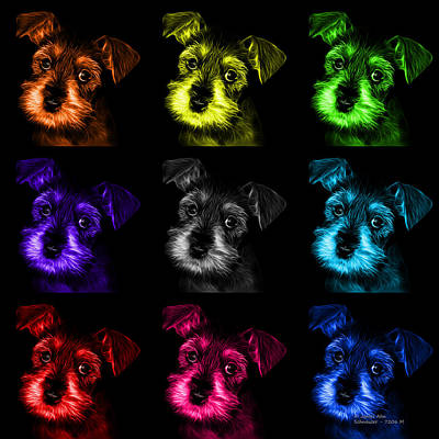 Digital Art - Mosaic Salt And Pepper Schnauzer Puppy Pop Art 7206 F -bb by James Ahn