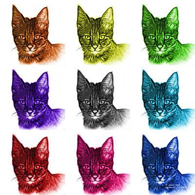 Digital Art - Mosaic Savannah Cat - 5462 F - M - Wb by James Ahn