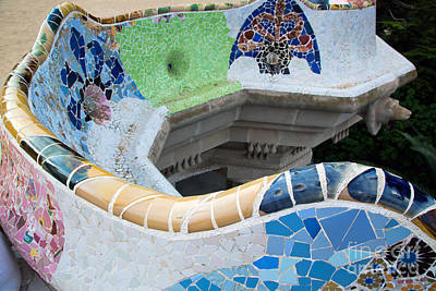 Photograph - Mosaic Sculpture In The Park Guell by Michal Bednarek