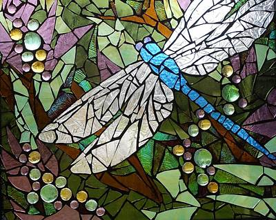 Glass Dragonfly Glass Art - Mosaic Stained Glass - Blue Dragonfly 50/50 by Catherine Van Der Woerd
