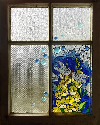Glass Dragonfly Glass Art - Mosaic Stained Glass - Dragonfly In The Window by Catherine Van Der Woerd