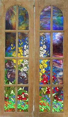 Mosaic Stained Glass - Flower Garden Art Print by Catherine Van Der Woerd