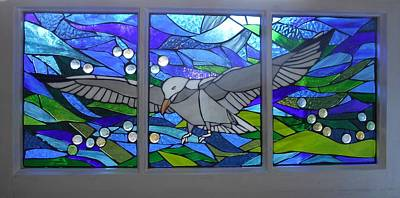 Mosaic Stained Glass - Free As A Bird Original by Catherine Van Der Woerd