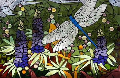 Glass Dragonfly Glass Art - Mosaic Stained Glass - Lupins And Dragonfly by Catherine Van Der Woerd