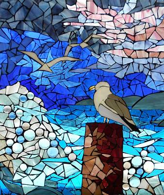 Mosaic Stained Glass - Three's A Crowd Original by Catherine Van Der Woerd