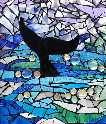 Mosaic Stained Glass - Whale Tail Original by Catherine Van Der Woerd