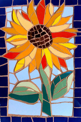 Ceramic Art - Mosaic Sunflower by Felicity Ball