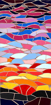 Ceramic Art - Mosaic Sunset by Felicity Ball