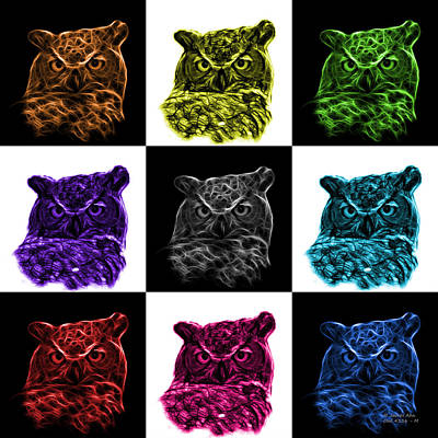 Digital Art - Mosaic V1 Owl 4436 - F M by James Ahn