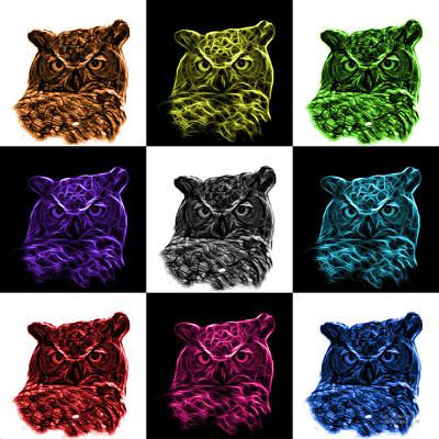 Digital Art - Mosaic V2 Owl 4436 - F M by James Ahn