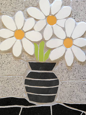 Ceramic Art - Mosaic Vase Of Daisies by Felicity Ball